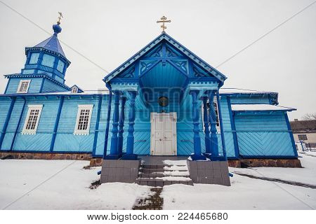 Exaltation of Holy Cross wooden Orthodox church in Narew, small village in Podlasie region of Poland