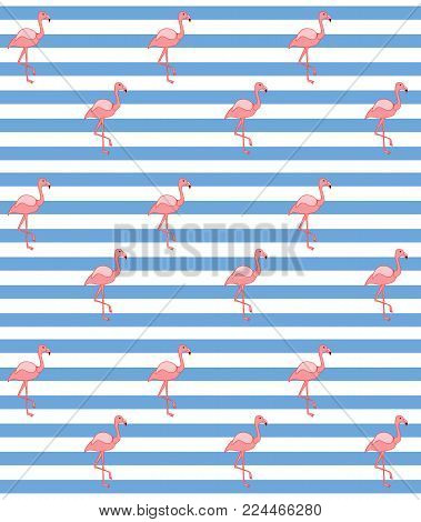 Pink flamingo seamless pattern with stripes. Vector pattern background with pink flamingos on stripes. Design for fabric and decor
