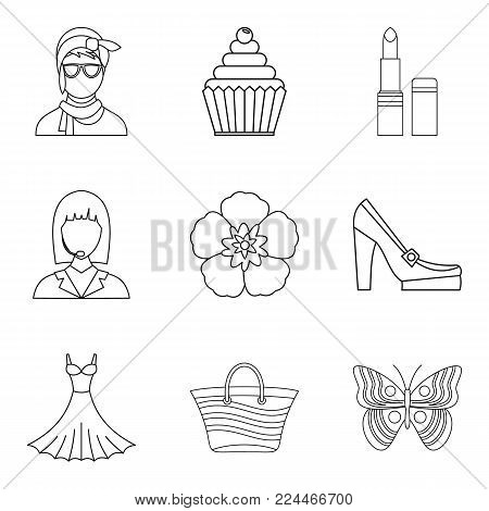 Lady icons set. Outline set of 9 lady vector icons for web isolated on white background