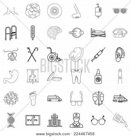 Pharmaceutical chemist icons set. Outline set of 36 pharmaceutical chemist vector icons for web isolated on white background