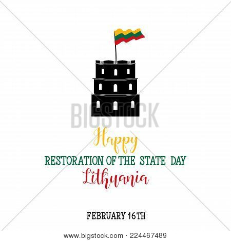 Vector illustration Lithuania Independence Day. 16 February. design template greeting card, banner