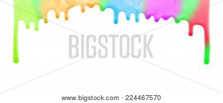 Rainbow multicolor colorful pouring paint drops. Glossy nail polish drips isolated