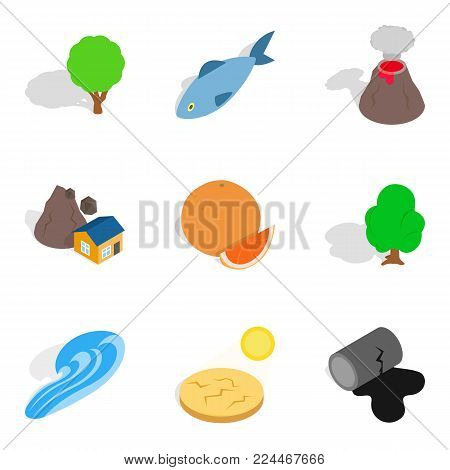 Dry land icons set. Isometric set of 9 dry land vector icons for web isolated on white background