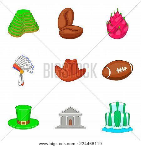 Architectural monument icons set. Cartoon set of 9 architectural monument vector icons for web isolated on white background
