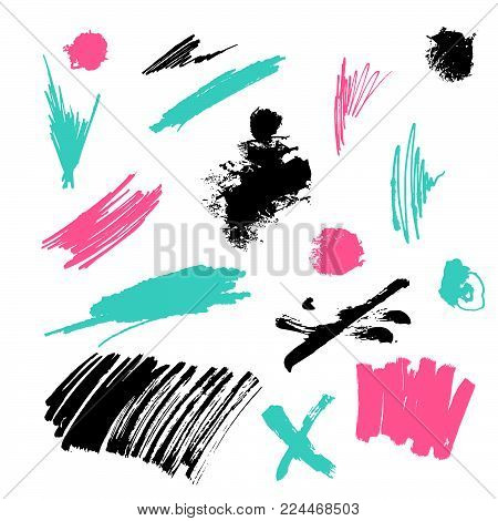 Grunge Ink pen Stroke set. Set of hand drawn design elements. Vector collection of ink abstract textures. Grunge ink pen - vector Brush Stroke. Distressed quill.