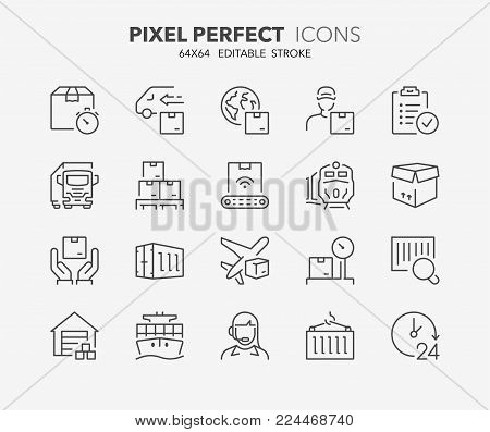 Thin line icons set of logistics and transportation. Outline symbol collection. Editable vector stroke. 64x64 Pixel Perfect.