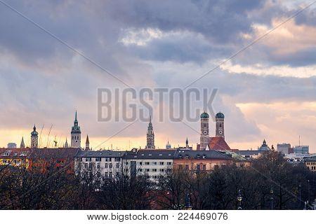 Skyline of Munich in autumn season, Germany. Copy space