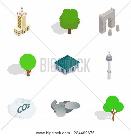 Scenery icons set. Isometric set of 9 scenery vector icons for web isolated on white background