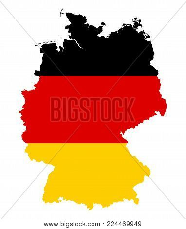 Federal Republic of Germany. Flag in silhouette of the country. Landmass and borders as outline. Colors of the nation. Black, red and yellow stripes. Isolated. Illustration on white background. Vector