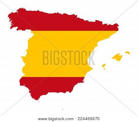 Kingdom of Spain. Flag in silhouette of the country. Landmass and borders as outline. The colors of the nation. Banner with red and yellow stripes. Isolated. Illustration on white background. Vector.