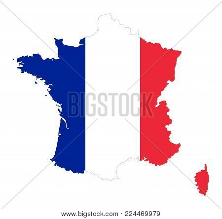 French Republic. Flag in silhouette of France. Country and borders as outline. The colors of the nation. Banner with blue, white and red stripes. Isolated. Illustration on white background. Vector.