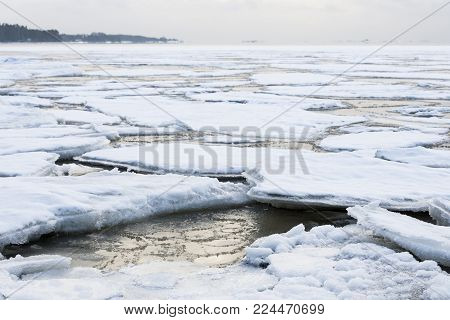 Baltic Sea at wintertime in the southern coast of Finland