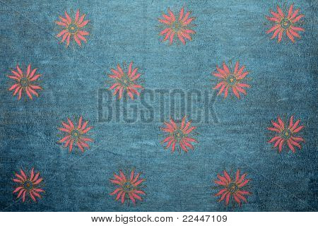 blue handmade art paper with floral print