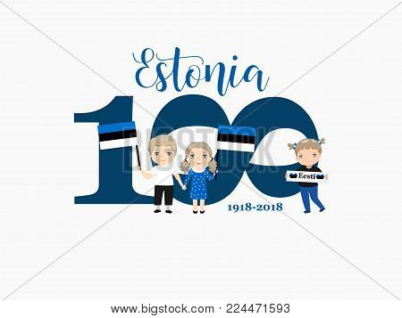 greetings card to the 100th anniversary of Estonia's independence. Kids logo