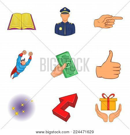 Senior positions icons set. Cartoon set of 9 senior positions vector icons for web isolated on white background