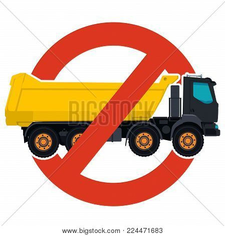 Prohibition of trucks entry symbol. Heavy vehicles strict ban sign. Caution of construction machinery, ground works. Construction work forbid. Vector yellow big lorry icon. Isolated, white background