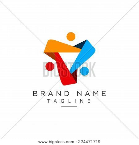 Simple concept for colorful community people logo. abstract People community
