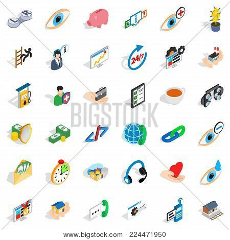 Aesculapius icons set. Isometric set of 36 aesculapius vector icons for web isolated on white background poster