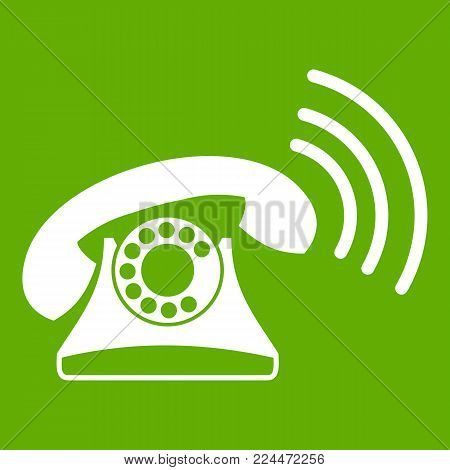 Retro phone icon white isolated on green background. Vector illustration