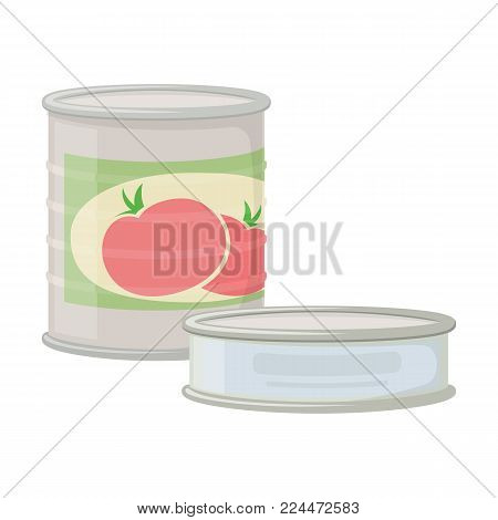 Canned goods for camping tourism, cartoon illustration of travel equipment. Vector