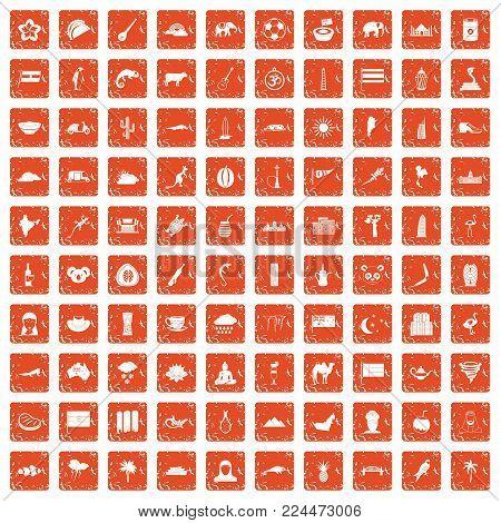 100 exotic animals icons set in grunge style orange color isolated on white background vector illustration