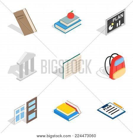 Master icons set. Isometric set of 9 master vector icons for web isolated on white background