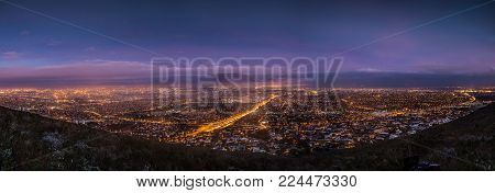 City Scape Over Cape Town South Africa At Dawn, As Seen From Tygerberg Hill In The Northern Suburbs