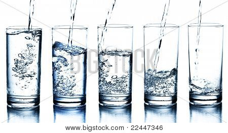 five water glasses being filled in descending order
