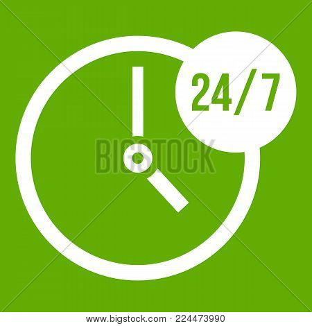 Clock 24 7 icon white isolated on green background. Vector illustration