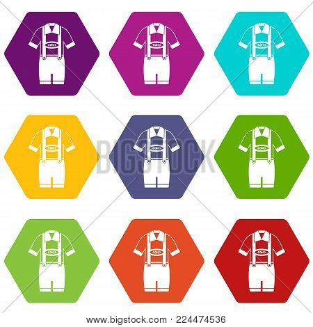 T-shirt and pants with suspenders icon set many color hexahedron isolated on white vector illustration