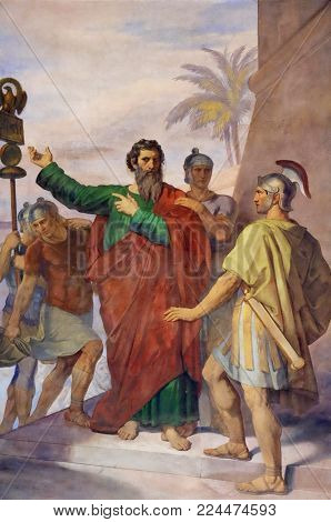 ROME, ITALY - SEPTEMBER 05: The fresco with the image of the life of St. Paul: Paul is Sent to Rome, basilica of Saint Paul Outside the Walls, Rome, Italy on September 05, 2016.