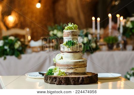 Groom in suit and bride in white dress cut beautiful multi level naked wedding cake, decorated with cream and fresh flowers, greenery. Delicious dessert at wedding banquet standing on wooden plate