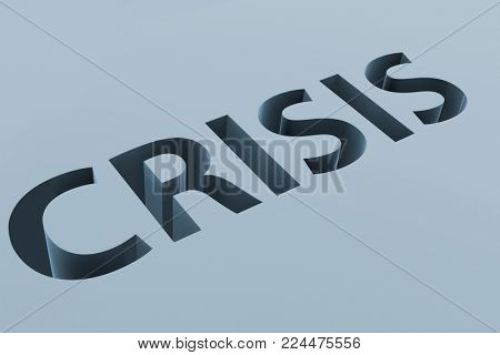 Financial crisis business concept with letters on ground