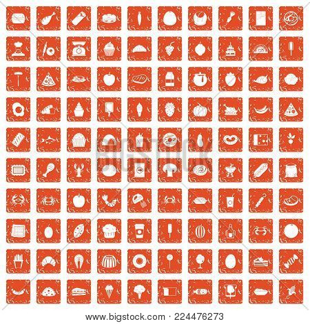 100 favorite food icons set in grunge style orange color isolated on white background vector illustration
