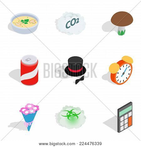 Existence icons set. Isometric set of 9 existence vector icons for web isolated on white background