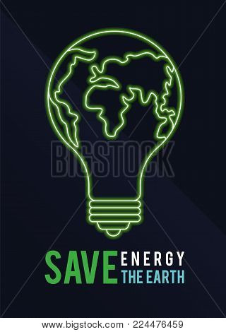 Earth Hour banner with Save energy save the earth text and green Light Bulb world sign vector design