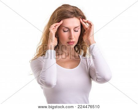 Headache, Pain Or Healthy Concept : Caucasian Woman Using Her Hand And Pressing Or Touching On Her H