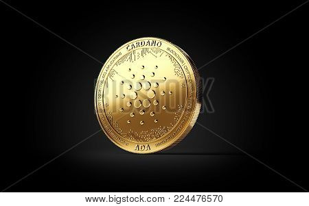 Golden CARDANO (ADA) cryptocurrency concept coin isolated on black background. 3D rendering