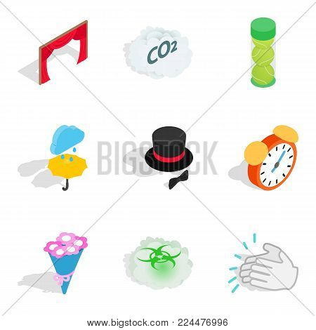 Way of life icons set. Isometric set of 9 way of life vector icons for web isolated on white background