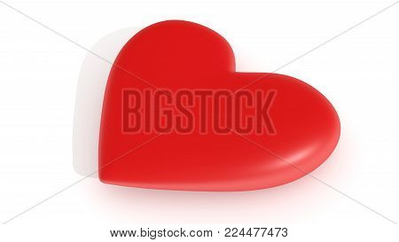 Pulsating red heart, on a white background, 3d rendering