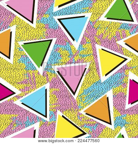 Colorful seamless pattern from triangles on the bright brush strokes background and black dots. 80's - 90's years design style. Trendy. Vector illustration