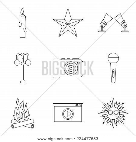 Shine forth icons set. Outline set of 9 shine forth vector icons for web isolated on white background
