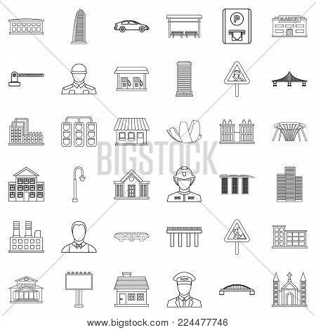 Large city icons set. Outline set of 36 large city vector icons for web isolated on white background