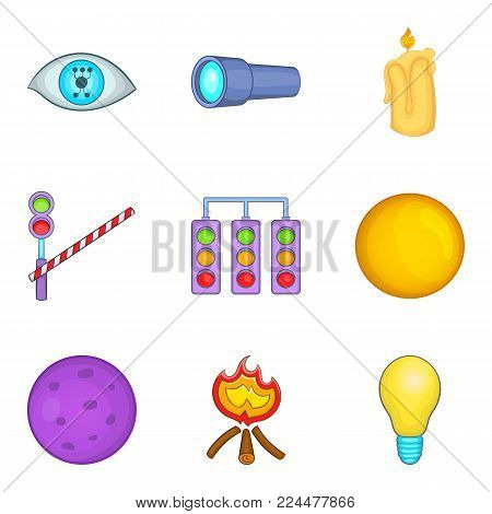Brighten icons set. Cartoon set of 9 brighten vector icons for web isolated on white background