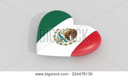 Pulsating heart in the colors of Mexico flag, on a white background, 3d rendering.