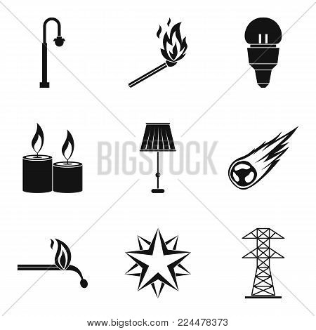 Light source icons set. Simple set of 9 light source vector icons for web isolated on white background