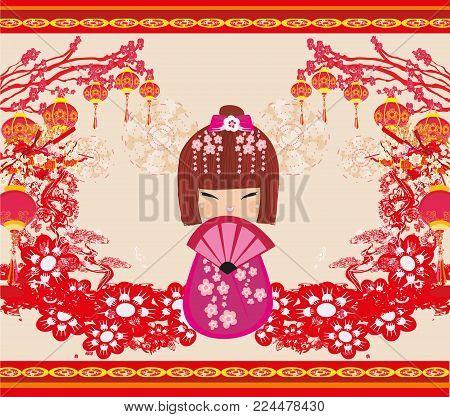 Kokeshi doll cartoon abstract  character , vector illustration