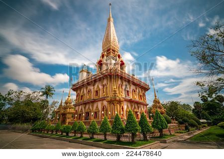 Beautiful pagoda in Wat Chalong or Chalong temple at Phuket town, Thailand. It's most popular thai temple in Phuket Thailand.
