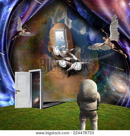 Surrealism. Man's head with opened door to another world. Naked man with wings represents angel. Winged clocks symbolizes flow of time. Astronaut. 3D rendering