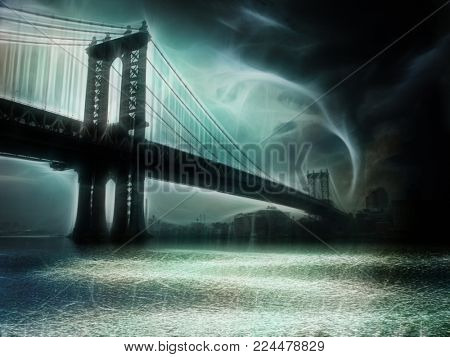 Tornado NYC Illustration. Manhattan Bridge. 3D rendering